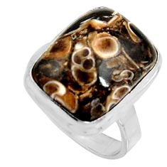 Natural turritella fossil snail agate 925 silver solitaire ring size 8 r11673