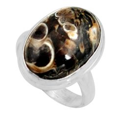 Natural turritella fossil snail agate 925 silver solitaire ring size 7.5 r11674