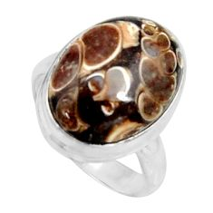 Natural turritella fossil snail agate 925 silver solitaire ring size 7.5 r11675