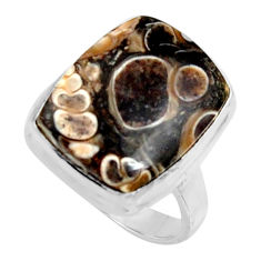Natural turritella fossil snail agate 925 silver solitaire ring size 8.5 r11676