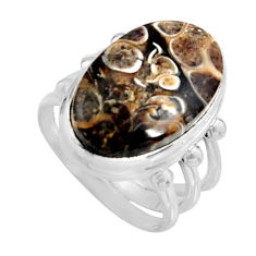 Natural turritella fossil snail agate 925 silver solitaire ring size 6.5 r11677