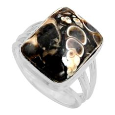 925 silver natural turritella fossil snail agate solitaire ring size 7 r11678