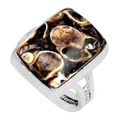 Natural turritella fossil snail agate 925 silver solitaire ring size 8.5 r11679