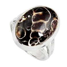 Natural turritella fossil snail agate 925 silver solitaire ring size 8 r11680