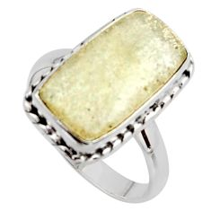 7.54cts natural libyan desert glass 925 silver solitaire ring size 9 r11703