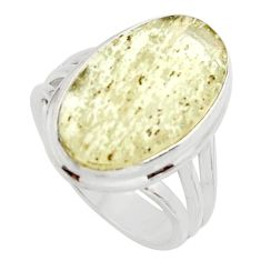 10.84cts natural libyan desert glass 925 silver solitaire ring size 7.5 r11711