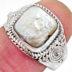 4.92cts natural white pearl 925 silver solitaire ring jewelry size 8 r11731