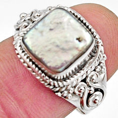 4.85cts natural white pearl 925 silver solitaire ring jewelry size 7.5 r11740