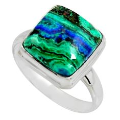 9.86cts natural green azurite malachite 925 silver solitaire ring size 10 r11742