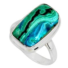 9.86cts natural green azurite malachite 925 silver solitaire ring size 9 r11743