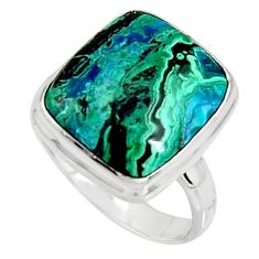 925 silver 9.45cts natural green azurite malachite solitaire ring size 8 r11744