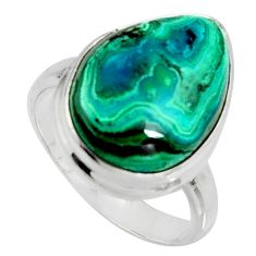 10.17cts natural green azurite malachite 925 silver solitaire ring size 7 r11745