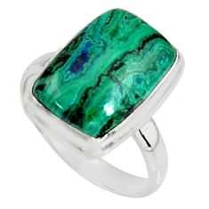 9.39cts natural green azurite malachite 925 silver solitaire ring size 9 r11746