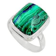925 silver 6.07cts natural green azurite malachite solitaire ring size 6 r11747