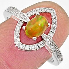 2.61cts natural multi color ethiopian opal 925 silver ring size 8.5 r11901