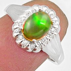 925 silver 3.27cts natural multi color ethiopian opal oval ring size 7.5 r11904