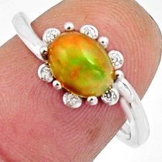 2.68cts natural multi color ethiopian opal 925 silver ring size 7 r11906