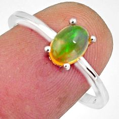 925 silver 1.56cts natural multi color ethiopian opal oval ring size 8 r11907