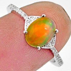 925 silver 2.50cts natural multi color ethiopian opal oval ring size 6.5 r11909