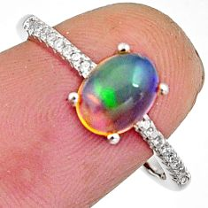 2.51cts natural multi color ethiopian opal 925 silver ring size 7.5 r11910