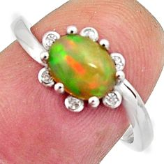 925 silver 2.89cts natural multi color ethiopian opal oval ring size 7 r11911