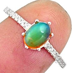 2.05cts natural multi color ethiopian opal 925 silver ring size 6.5 r11912