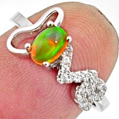 1.65cts natural multi color ethiopian opal 925 silver ring size 6.5 r11914