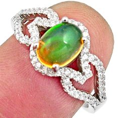 925 silver 3.08cts natural multi color ethiopian opal oval ring size 7 r11915