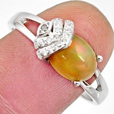 3.38cts natural multi color ethiopian opal 925 silver ring size 9 r11919