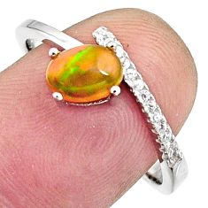 1.98cts natural multi color ethiopian opal 925 silver ring size 8.5 r11920