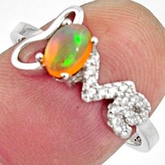 1.87cts natural multi color ethiopian opal 925 silver ring size 7.5 r11922