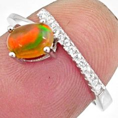925 silver 2.21cts natural multi color ethiopian opal oval ring size 6.5 r11924