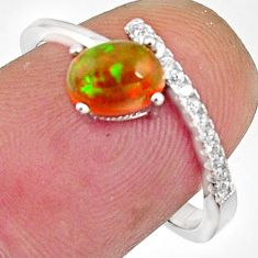 2.12cts natural multi color ethiopian opal 925 silver ring size 7.5 r11939