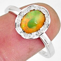 925 silver 2.91cts natural multi color ethiopian opal oval ring size 9 r11940