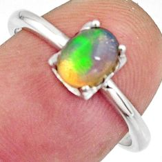 1.42cts natural multicolor ethiopian opal 925 sterling silver ring size 7 r11942