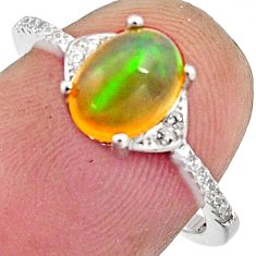 925 silver 2.60cts natural multi color ethiopian opal oval ring size 6.5 r11943