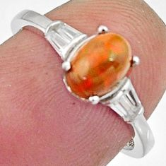 2.37cts natural multicolor ethiopian opal 925 sterling silver ring size 6 r11944