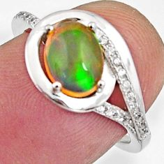 2.81cts natural multi color ethiopian opal 925 silver ring size 6.5 r11946