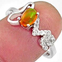 2.03cts natural multi color ethiopian opal 925 silver ring size 7.5 r11952