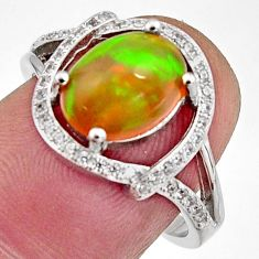 925 silver 4.43cts natural multi color ethiopian opal ring size 7.5 r11953