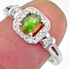 2.42cts natural multi color ethiopian opal 925 silver ring size 7.5 r11955