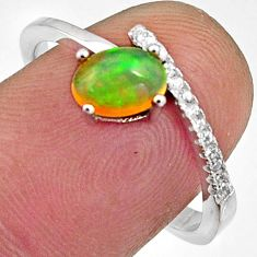 925 silver 1.83cts natural multi color ethiopian opal oval ring size 8.5 r11956