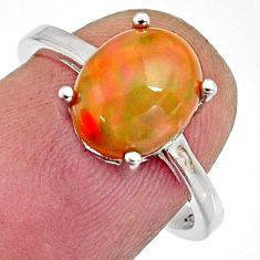 3.50cts natural multi color ethiopian opal 925 silver ring size 6.5 r11958