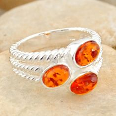 2.44cts natural orange baltic amber (poland) 925 silver ring size 6.5 r11963