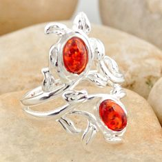 1.46cts natural orange baltic amber (poland) 925 silver ring size 5.5 r11965