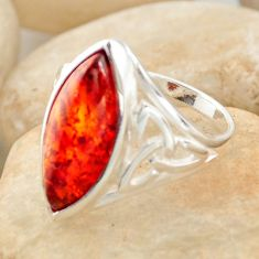 925 silver 4.92cts natural orange baltic amber (poland) ring size 7 r11971