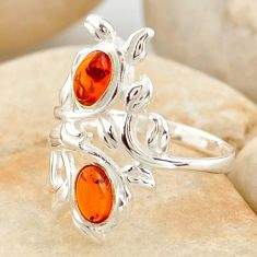 925 silver 1.45cts natural orange baltic amber (poland) ring size 8.5 r11975