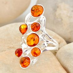3.70cts natural orange baltic amber (poland) 925 silver ring size 5.5 r11976