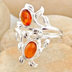 1.74cts natural orange baltic amber (poland) 925 silver ring size 8 r11977