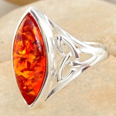 4.92cts natural orange baltic amber (poland) 925 silver ring size 7 r11979